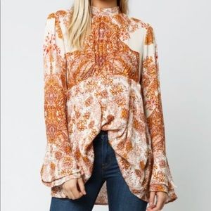 NWT Free People Lady Luck Tunic in ivory combo XS